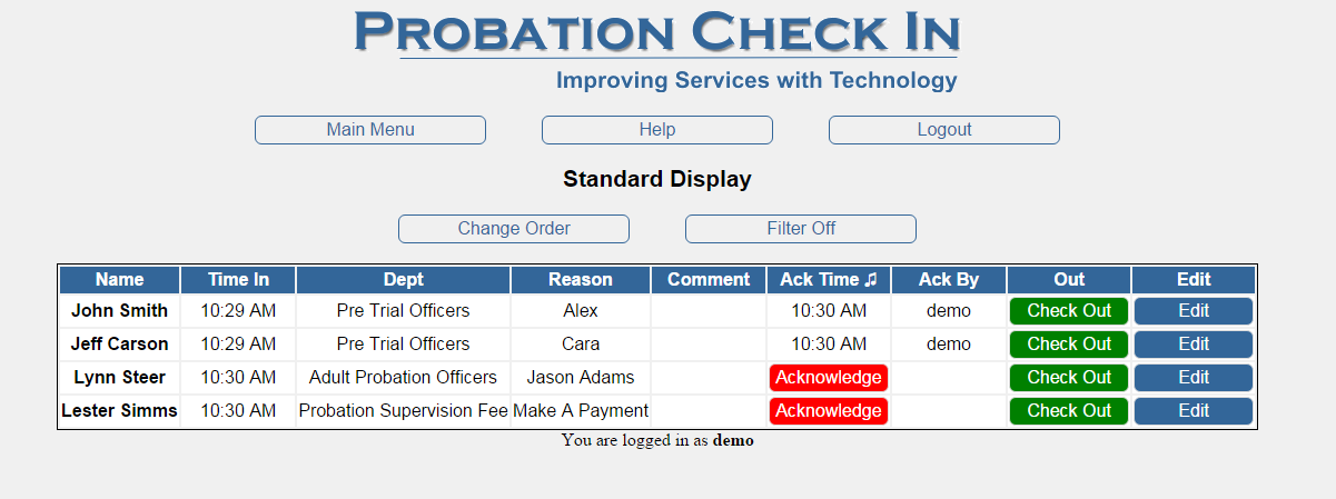 Probation Check In displays visitor sign in information on any or all your desktops